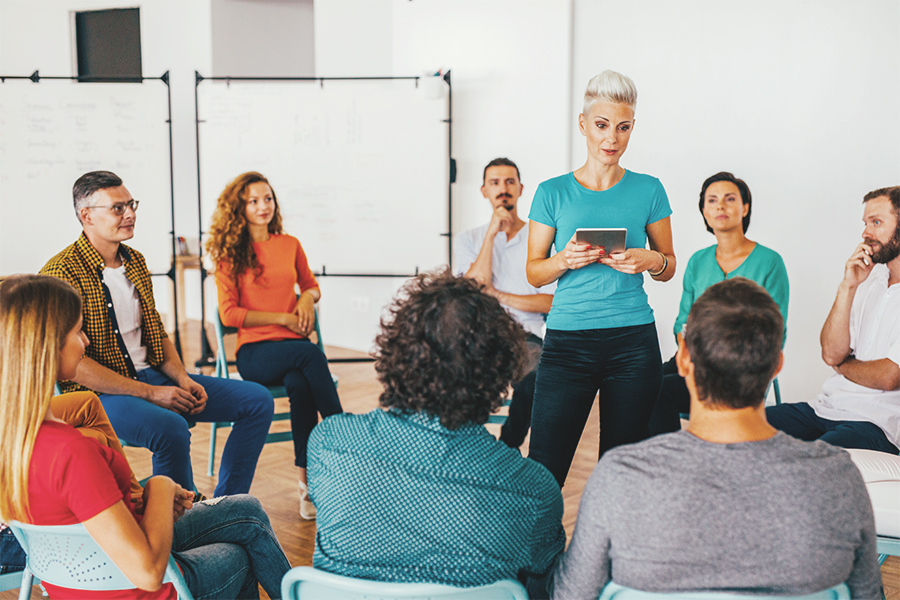 Woman speaking to group